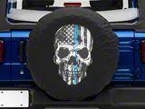 Police Thin Blue Line Skull Spare Tire Cover (87-18 Jeep Wrangler YJ, TJ & JK)