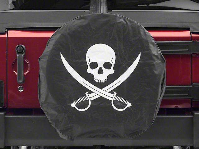 Jolly Roger Spare Tire Cover; Black (87-18 Jeep Wrangler YJ, TJ & JK)