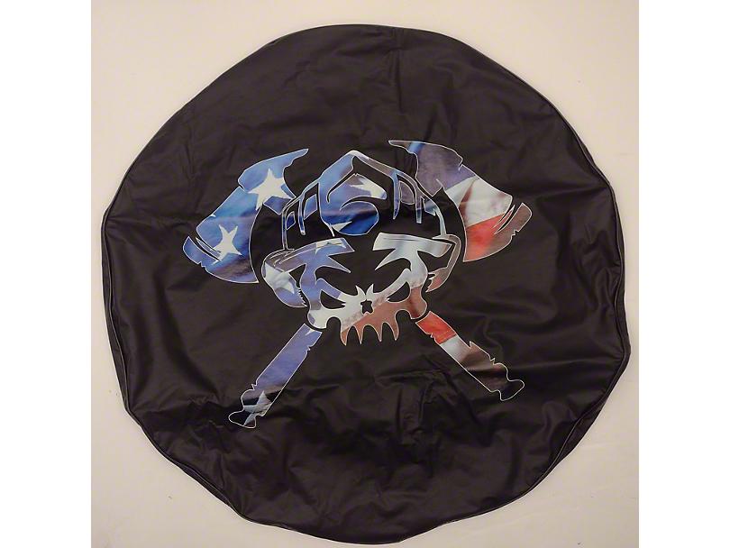 Patriotic Skull Axes Spare Tire Cover (87-20 Jeep Wrangler YJ, TJ, JK & JL)