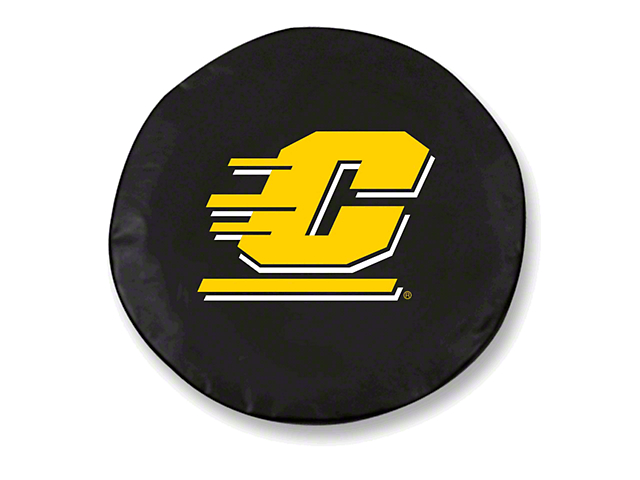 Central Michigan University Spare Tire Cover with Camera Port; Black (18-21 Jeep Wrangler JL)