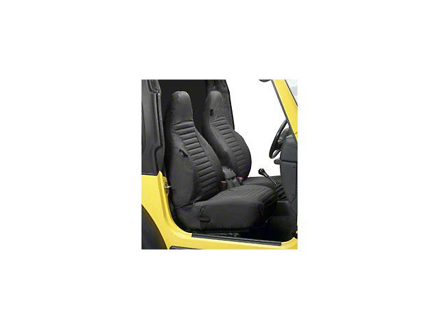 Bestop Factory High-Back Bucket Front Seat Covers; Black Denim (97-02 Jeep Wrangler TJ)