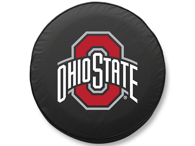 Ohio State University Spare Tire Cover; Black (87-18 Jeep Wrangler YJ, TJ & JK)