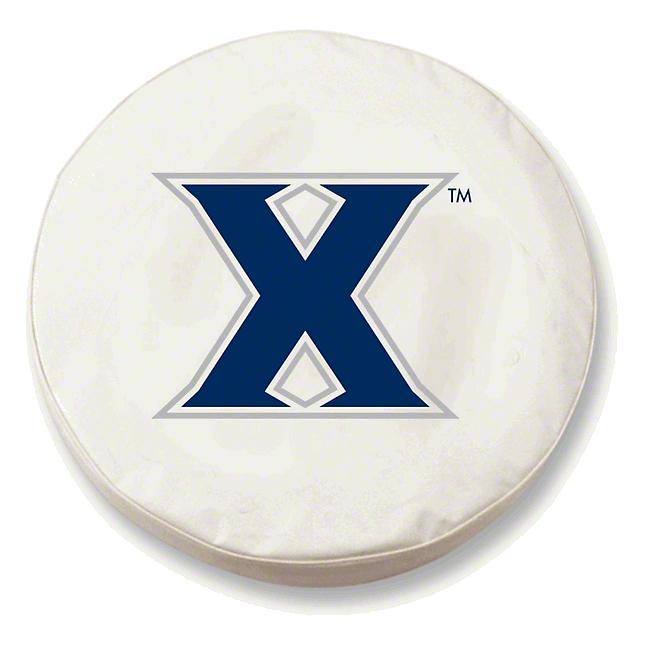 Xavier University Spare Tire Cover - White (87-18 Jeep Wrangler YJ, TJ, JK & JL)