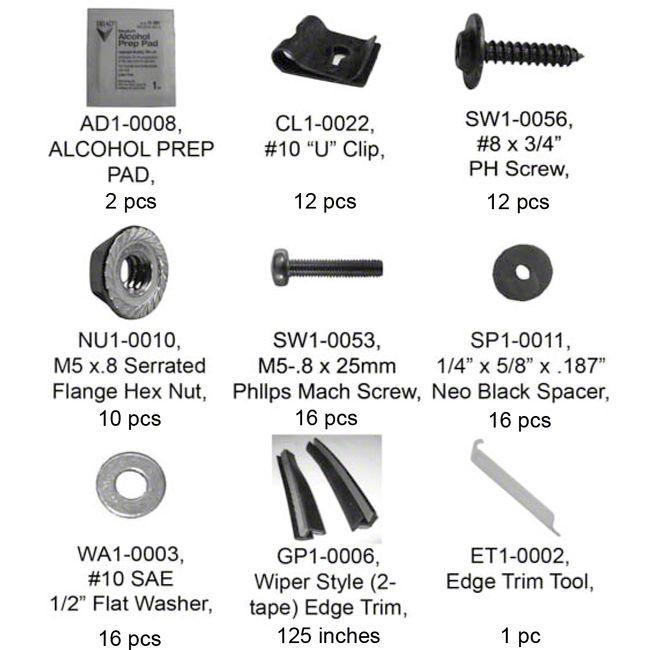 Bushwacker PK1-31081 Complete Hardware Kit for 31081-02 Fender Flare