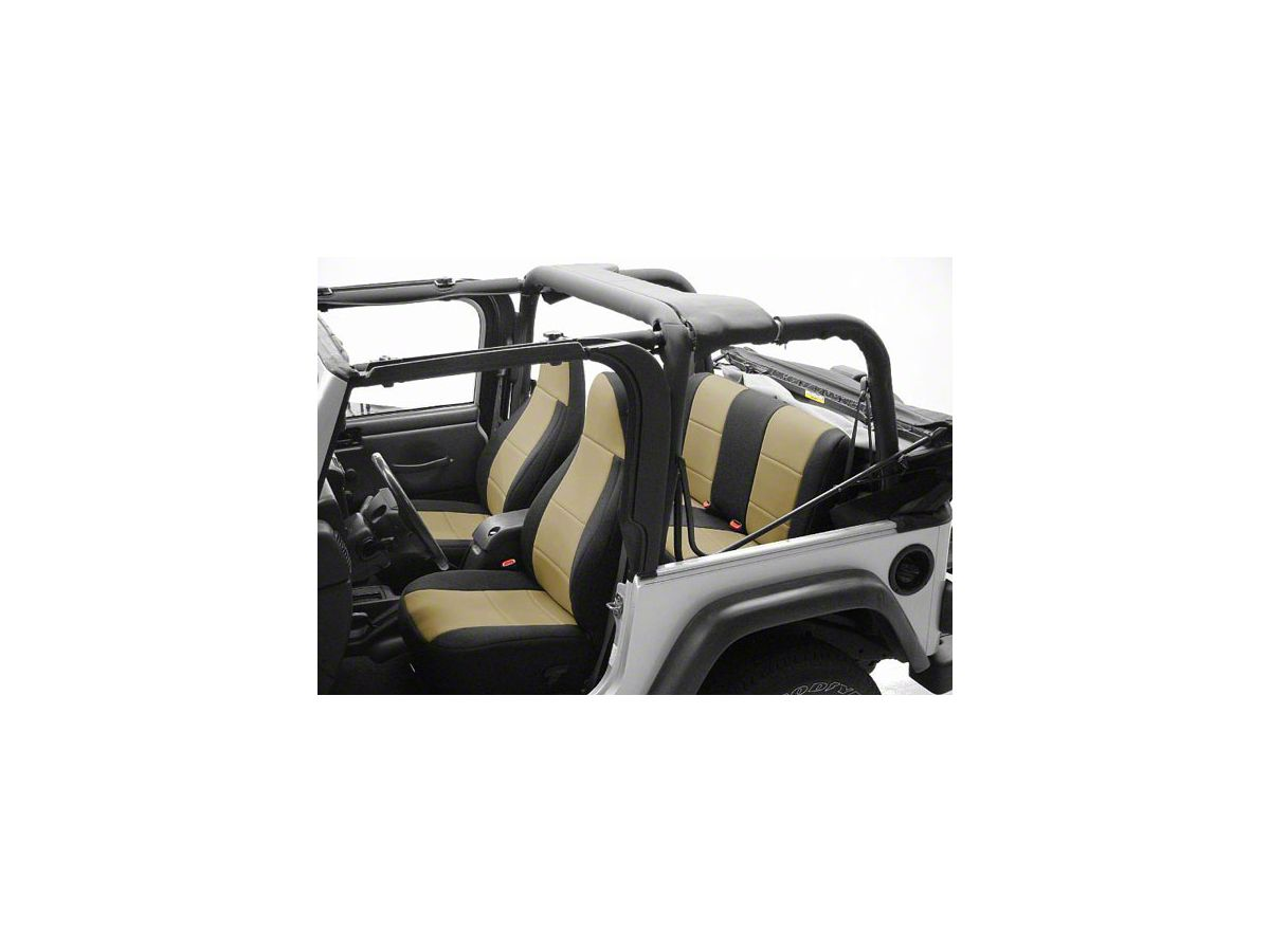 Sensational Coverking Neoprene Rear Seat Covers Black 87 95 Jeep Wrangler Yj Dailytribune Chair Design For Home Dailytribuneorg