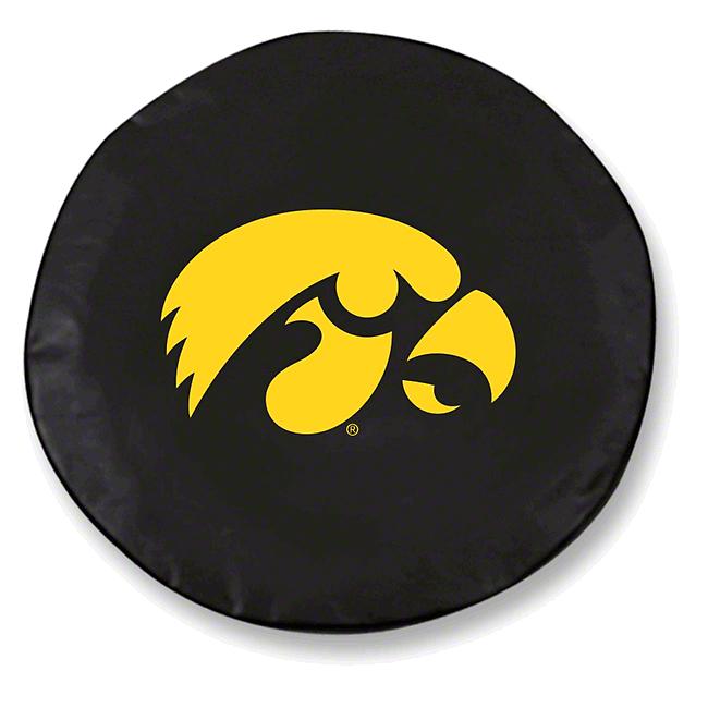 University of Iowa Spare Tire Cover - Black (87-18 Jeep Wrangler YJ, TJ, JK & JL)