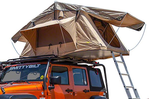 Smittybilt Overlander 2 Person Roof Tent - Coyote Tan (07-18 Jeep Wrangler JK)