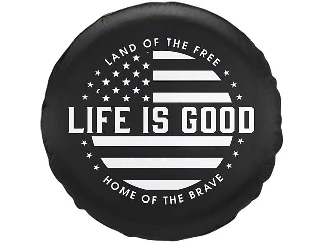 life is good jeep wrangler black white flag spare tire cover j128516 87 19 jeep wrangler yj. Black Bedroom Furniture Sets. Home Design Ideas