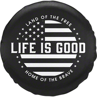 Life is Good Black & White Flag Spare Tire Cover (87-18 Jeep Wrangler YJ, TJ, JK & JL)