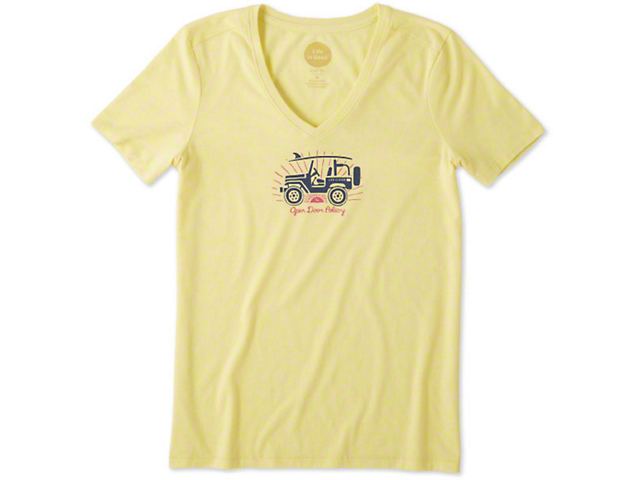 3dc266a9602 Life is Good Jeep Wrangler Women s Open Door Policy V-Neck T-Shirt J128519