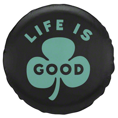 Life is Good Green Clover Spare Tire Cover (87-18 Jeep Wrangler YJ, TJ, JK & JL)