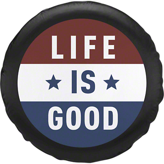 Life is Good Flag Spare Tire Cover (87-18 Jeep Wrangler YJ, TJ, JK & JL)