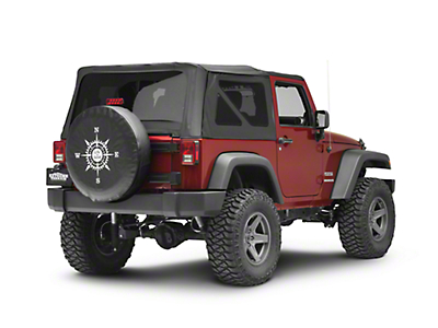 Life is Good White Compass Spare Tire Cover (87-18 Jeep Wrangler YJ, TJ, JK & JL)