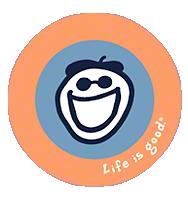 Life is Good Jakes Face Sticker - Orange/Blue