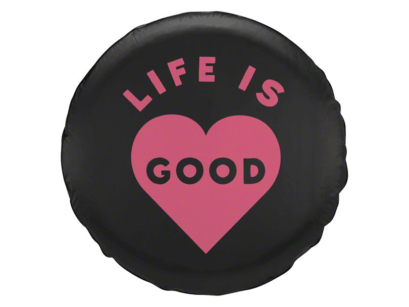 Life is Good Pink Heart Spare Tire Cover (87-19 Jeep Wrangler YJ, TJ, JK & JL)