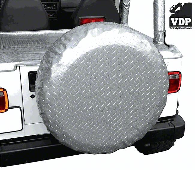 Vertically Driven 30-33 in. Spare Tire Cover - Silver Diamond Plate (87-18 Jeep Wrangler YJ, TJ, JK & JL)