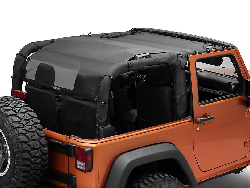 SpiderWeb Shade Extended Trail Mesh ShadeTop - Black (07-18 Jeep Wrangler JK 2 Door)