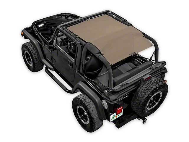 SpiderWeb Shade Trail Mesh ShadeTop - Tan (87-06 Jeep Wrangler YJ & TJ, Excluding Unlimited)