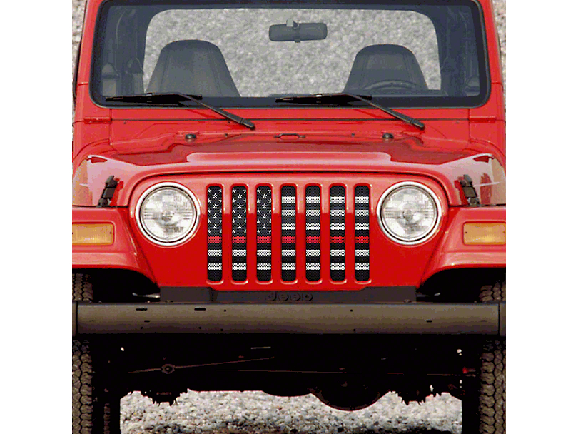 Grille Insert; American Black and White Black the Red (97-06 Jeep Wrangler TJ)