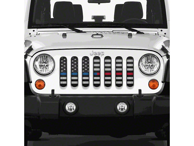 Grille Insert; American Black and White Black the Blue and Red (07-18 Jeep Wrangler JK)
