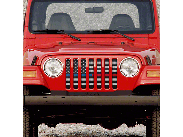Grille Insert; American Black and White Black the Blue and Red (97-06 Jeep Wrangler TJ)