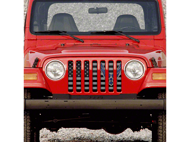 Dirty Acres Grille Insert - Fly High Air Force (97-06 Jeep Wrangler TJ)