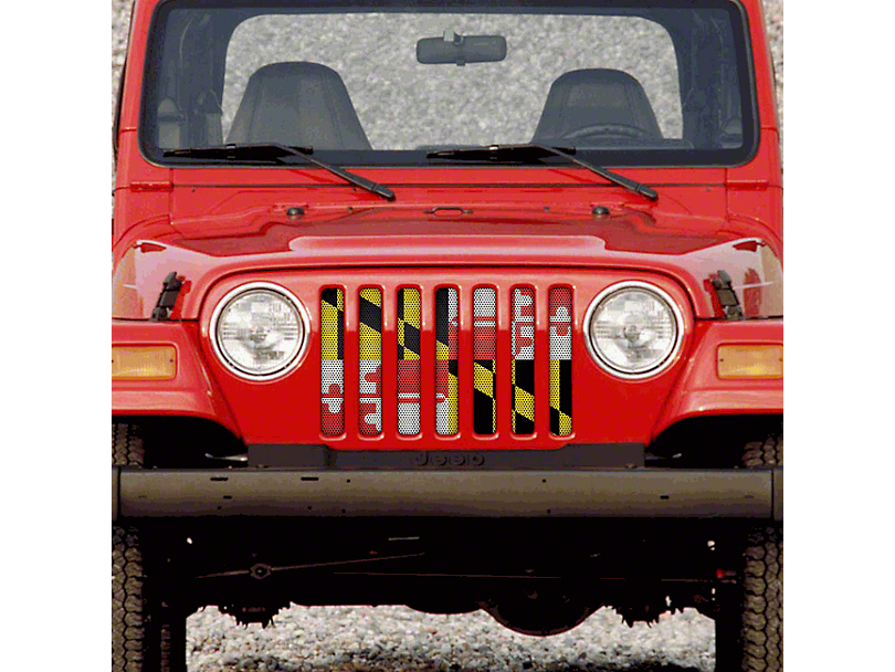 Dirty Acres Grille Insert - Maryland State Flag (97-06 Jeep Wrangler TJ)