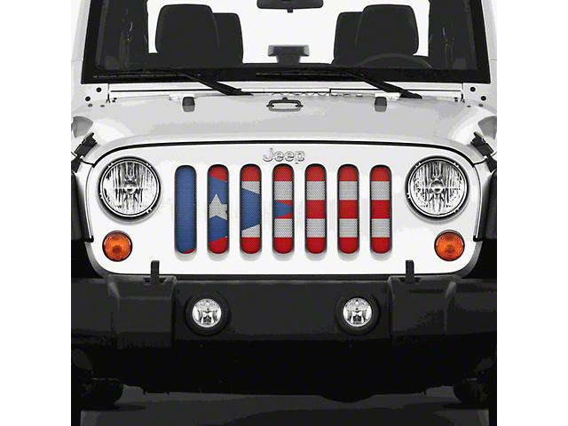 Dirty Acres Grille Insert - Puerto Rico Flag (07-18 Jeep Wrangler JK)