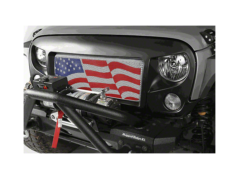 Rugged Ridge Spartan Grille w/ American Flag Insert (07-18 Jeep Wrangler JK)