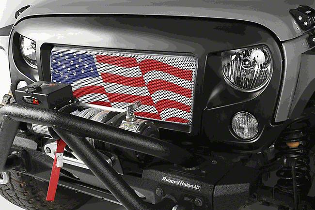 Rugged Ridge Spartan Grille w/ American Flag Insert (07-18 Jeep Wrangler JK)