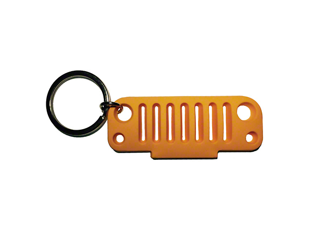 JK Grille Rubber Keychain - Orange