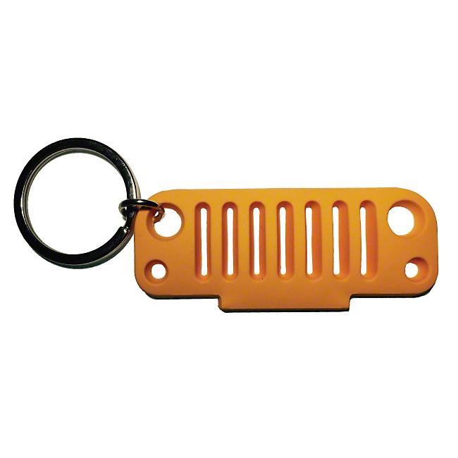 JK Grille Rubber Keychain - Orange