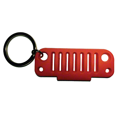 JK Grille Rubber Keychain - Red