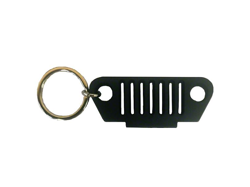 TJ Grille Rubber Keychain - Black