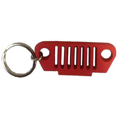 TJ Grille Rubber Keychain - Red