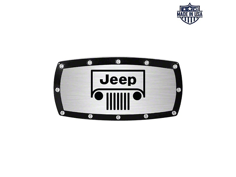 Billet Hitch Cover with Jeep Grille Logo (Universal Fitment)