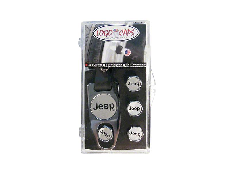 Jeep Logo Valve Team Caps - Chrome & Silver (87-20 Jeep Wrangler YJ, TJ, JK & JL)
