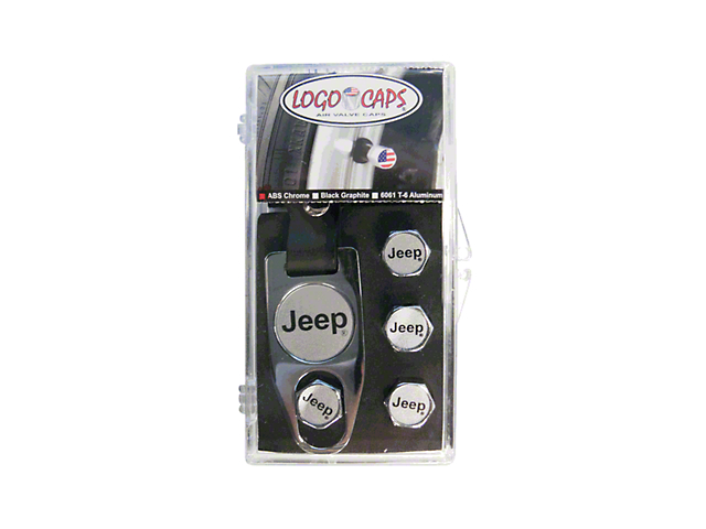 Jeep Logo Valve Team Caps - Black & Silver (Universal Fitment)