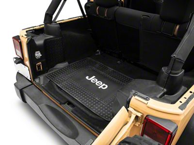 Alterum Jeep Logo Cargo Floor Mat - Black (87-19 Jeep Wrangler YJ, TJ, JK & JL)
