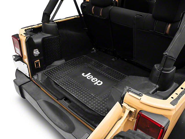 Alterum Jeep Logo Cargo Floor Mat - Black (87-20 Jeep Wrangler YJ, TJ, JK & JL)