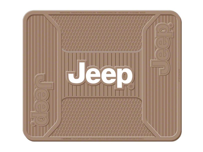 Alterum Jeep Logo Elite Rear Utility Floor Mat - Tan (87-20 Jeep Wrangler YJ, TJ, JK & JL)