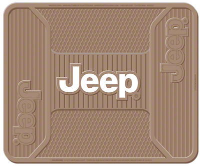 Alterum Jeep Logo Elite Rear Utility Floor Mat - Tan (87-18 Jeep Wrangler YJ, TJ, JK & JL)