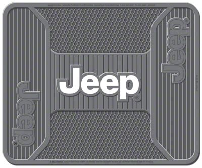 Alterum Jeep Logo Elite Rear Utility Floor Mat - Gray (87-19 Jeep Wrangler YJ, TJ, JK & JL)