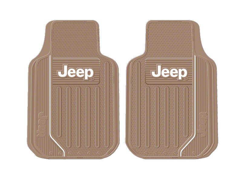 Alterum Jeep Logo Elite Series Front Floor Mats - Tan (87-18 Jeep Wrangler YJ, TJ, JK & JL)