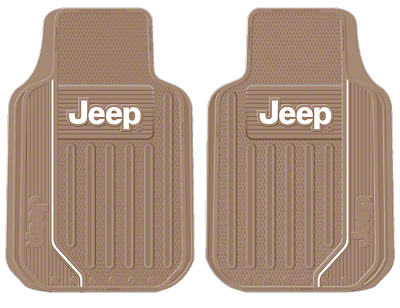 Alterum Jeep Logo Elite Series Front Floor Mats - Tan (87-18 Jeep Wrangler YJ, TJ, JK & JL)
