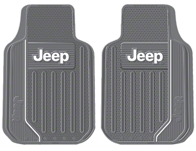 Alterum Jeep Logo Elite Series Front Floor Mats - Gray (87-18 Jeep Wrangler YJ, TJ, JK & JL)