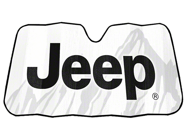 Alterum Jeep Logo Accordion Bubble Sunshade - 57 x 28 in. (87-18 Jeep Wrangler YJ, TJ, JK & JL)