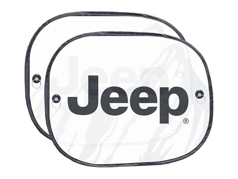 Alterum Jeep Logo Side Window Sunshades - 17.5 x 14 in. (87-20 Jeep Wrangler YJ, TJ, JK & JL)