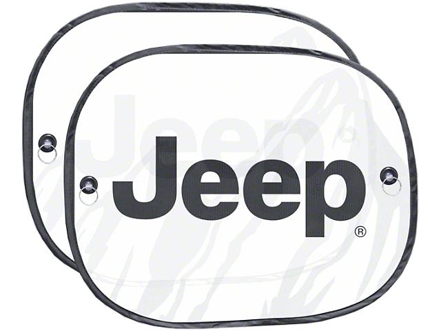Side Window Sunshades with Jeep Logo; 17.50-Inch x 14-Inch (87-20 Jeep Wrangler YJ, TJ, JK & JL)