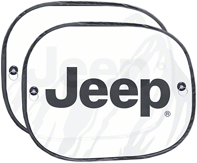 Alterum Jeep Logo Side Window Sunshades - 17.5 x 14 in. (87-18 Jeep Wrangler YJ, TJ, JK & JL)